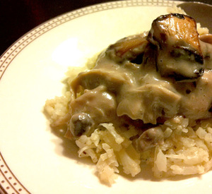 Chicken and Mushrooms over Faux Rice