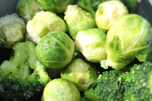 Oven Roasted Mustard Broccoli and Brussel Sprouts
