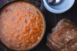 Turkish Tomato, Lentil, and Mint Soup